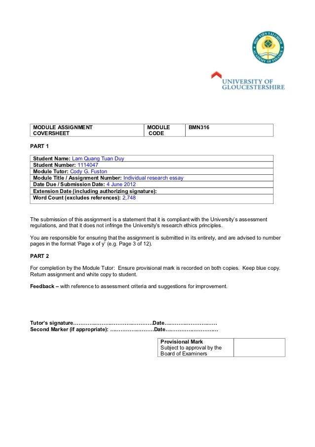 MODULE ASSIGNMENT                                MODULE            BMN316 COVERSHEET                                      ...