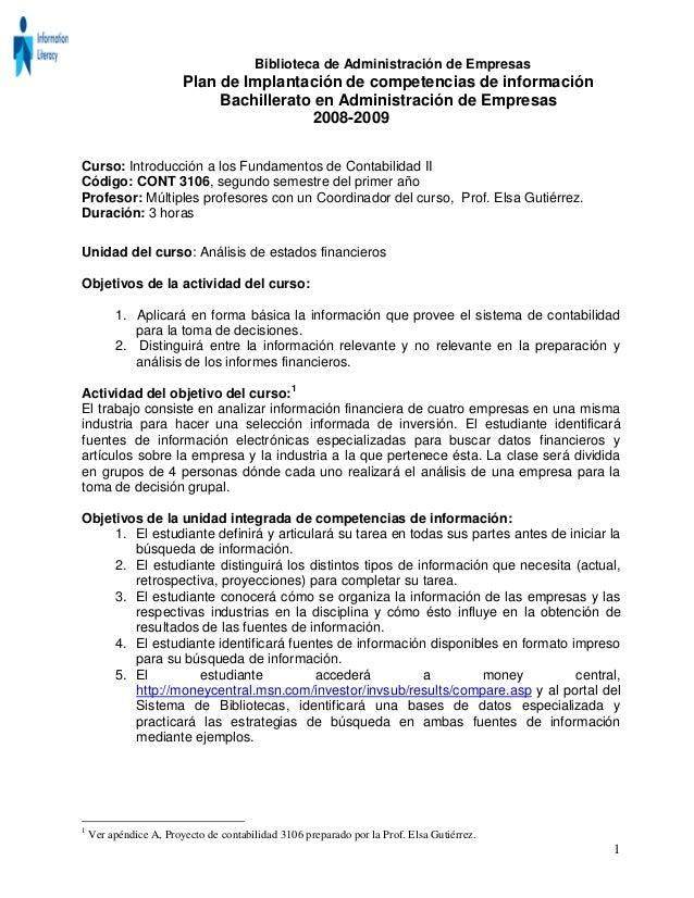 Biblioteca de Administración de Empresas Plan de Implantación de competencias de información Bachillerato en Administració...