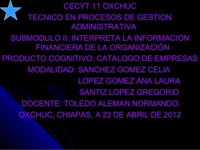 CECYT 11 OXCHUCCECYT 11 OXCHUCTECNICO EN PROCESOS DE GESTIONTECNICO EN PROCESOS DE GESTIONADMINISTRATIVAADMINISTRATIVASUBM...