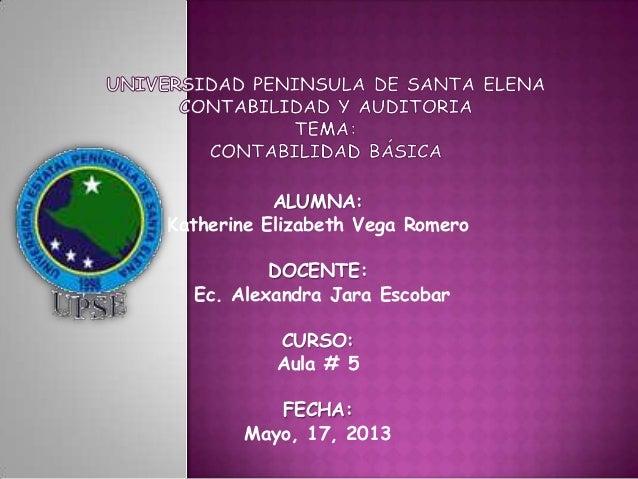 ALUMNA:Katherine Elizabeth Vega RomeroDOCENTE:Ec. Alexandra Jara EscobarCURSO:Aula # 5FECHA:Mayo, 17, 2013