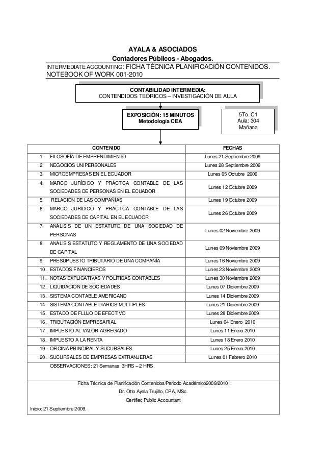 AYALA & ASOCIADOS Contadores Públicos - Abogados. INTERMEDIATE ACCOUNTING: FICHA TÉCNICA PLANIFICACIÓN CONTENIDOS. NOTEBOO...