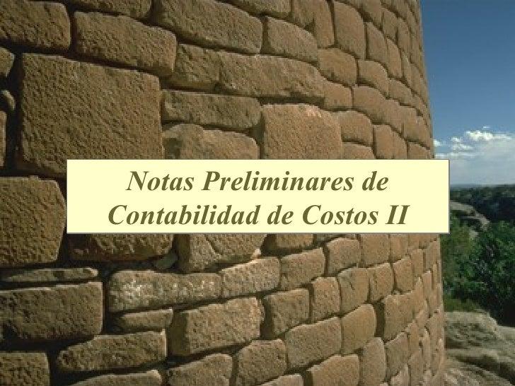 Notas Preliminares deContabilidad de Costos II