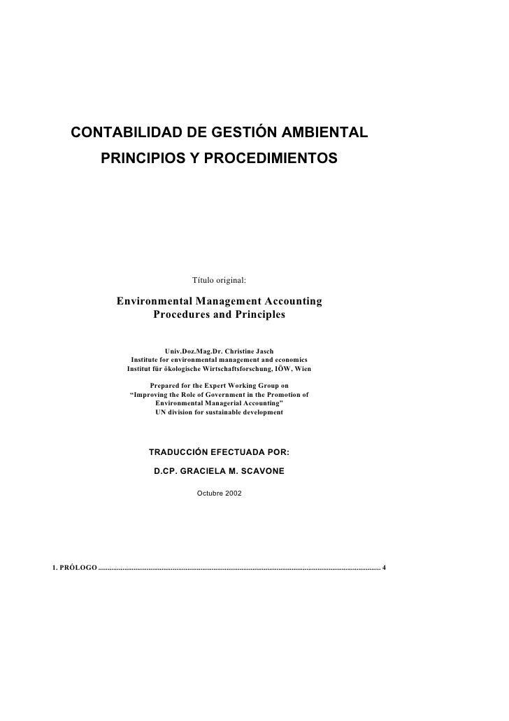 CONTABILIDAD DE GESTIÓN AMBIENTAL                        PRINCIPIOS Y PROCEDIMIENTOS                                      ...