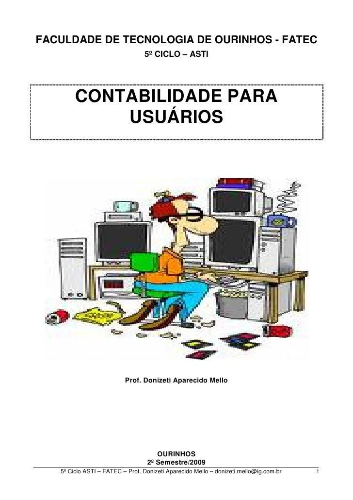 FACULDADE DE TECNOLOGIA DE OURINHOS - FATEC                                  5º CICLO – ASTI             CONTABILIDADE PAR...