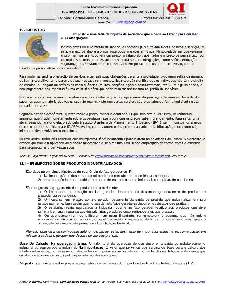 Curso Técnico em Gerencia Empresarial                                12 – Impostos _ IPI - ICMS - IR - IRRF - ISSQN - INSS...