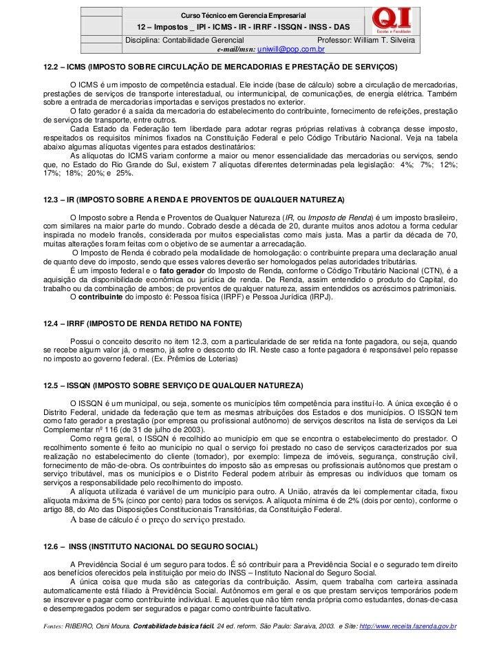 Contabilidade Curso De No Es De Contabilidade 12 Impostos Ipi