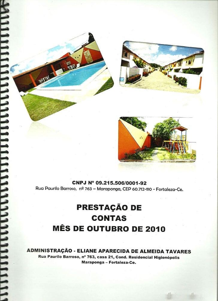 Prestação de Contas - Outubro 2010
