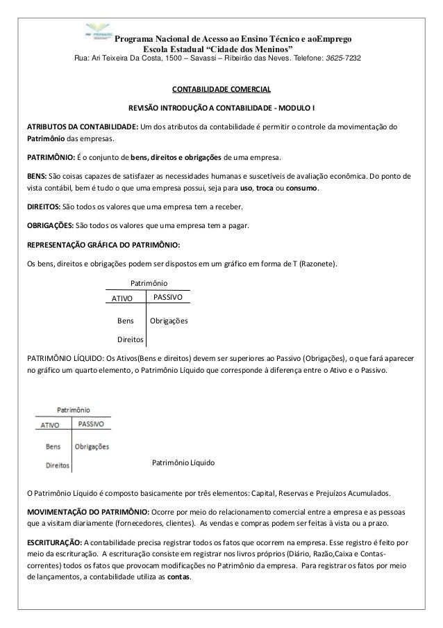 """Programa Nacional de Acesso ao Ensino Técnico e aoEmprego Escola Estadual """"Cidade dos Meninos"""" Rua: Ari Teixeira Da Costa,..."""