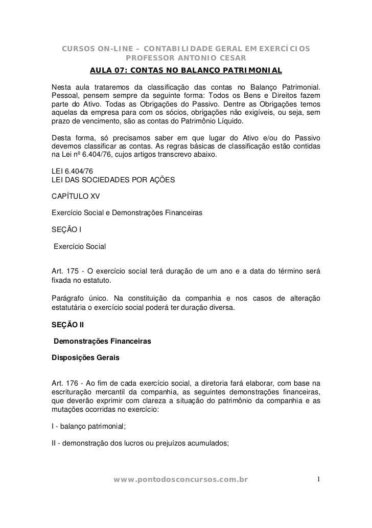 CURSOS ON-LINE – CONTABILIDADE GERAL EM EXERCÍCIOS                PROFESSOR ANTONIO CESAR            AULA 07: CONTAS NO BA...