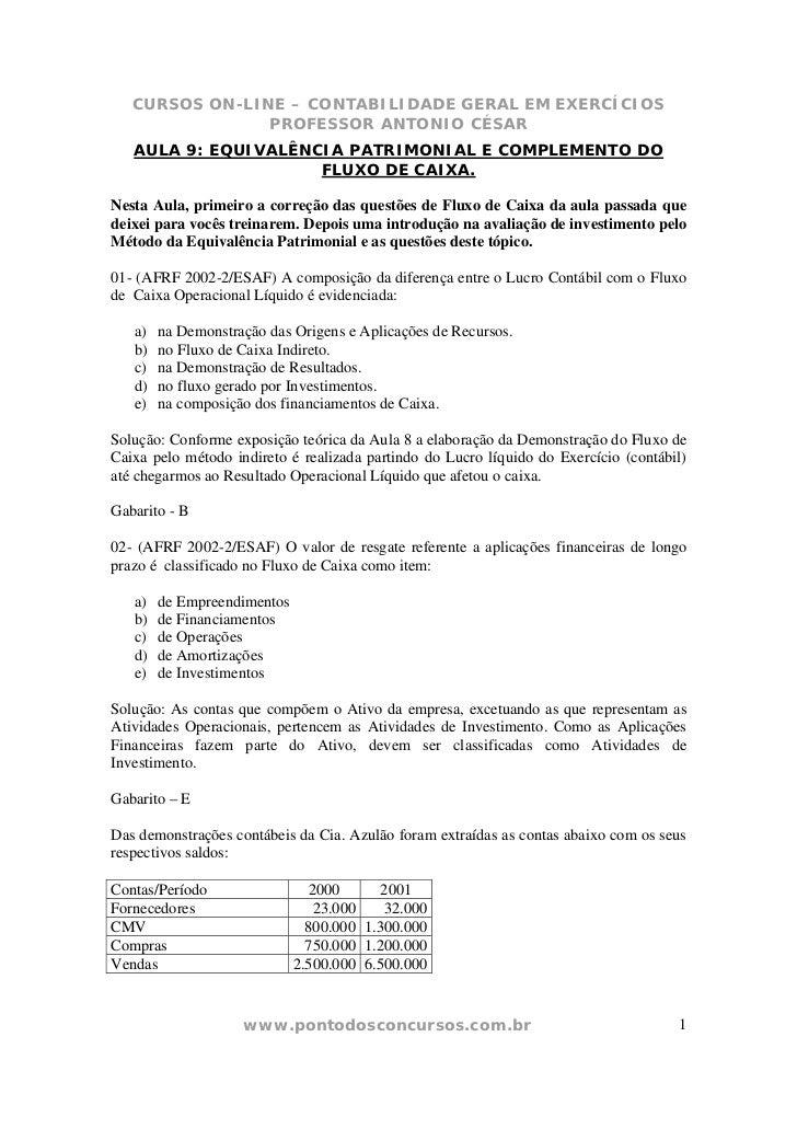 CURSOS ON-LINE – CONTABILIDADE GERAL EM EXERCÍCIOS                PROFESSOR ANTONIO CÉSAR   AULA 9: EQUIVALÊNCIA PATRIMONI...