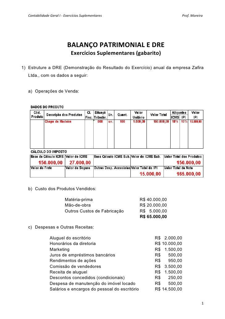 Contabilidade geral i exercicios complementares bp_dre i - gabarito