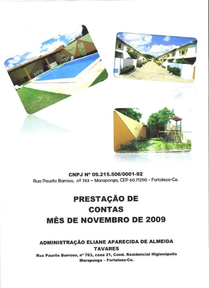 Prestação de Contas - Novembro 2009