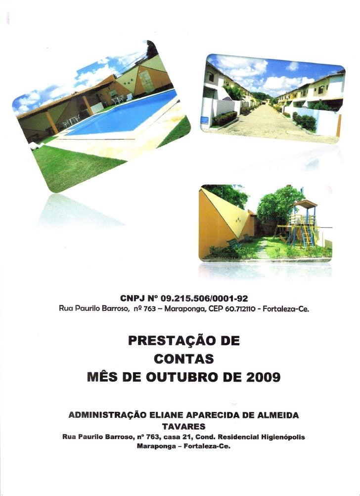 Prestação de Contas - Outubro 2009