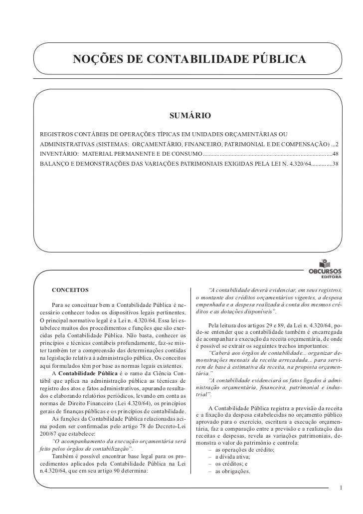 NOÇÕES DE CONTABILIDADE PÚBLICA                                                         SUMÁRIOREGISTROS CONTÁBEIS DE OPER...