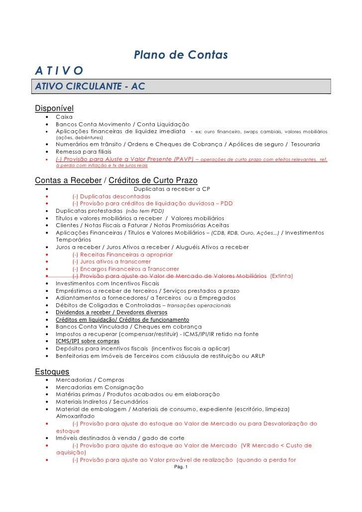 Plano de Contas ATIVO ATIVO CIRCULANTE - AC  Disponível   •   Caixa   •   Bancos Conta Movimento / Conta Liquidação   •   ...