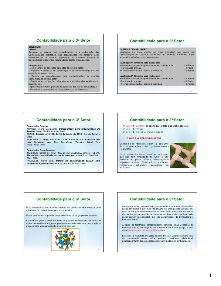 Contabilidade para o 3º Setor                                                Contabilidade para o 3º Setor   OBJETIVO:   –...