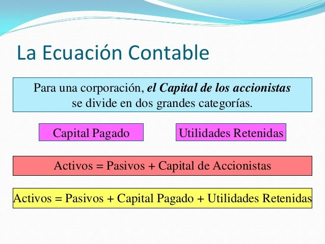 La Ecuación Contable Para una corporación, el Capital de los accionistas se divide en dos grandes categorías. Capital Paga...