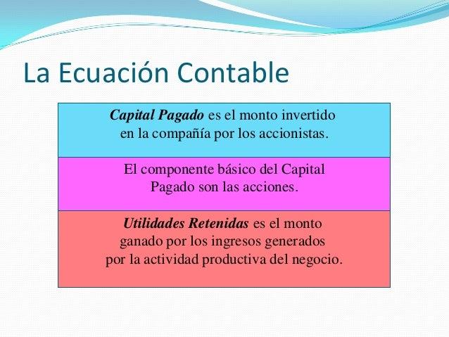 La Ecuación Contable Capital Pagado es el monto invertido en la compañía por los accionistas. El componente básico del Cap...