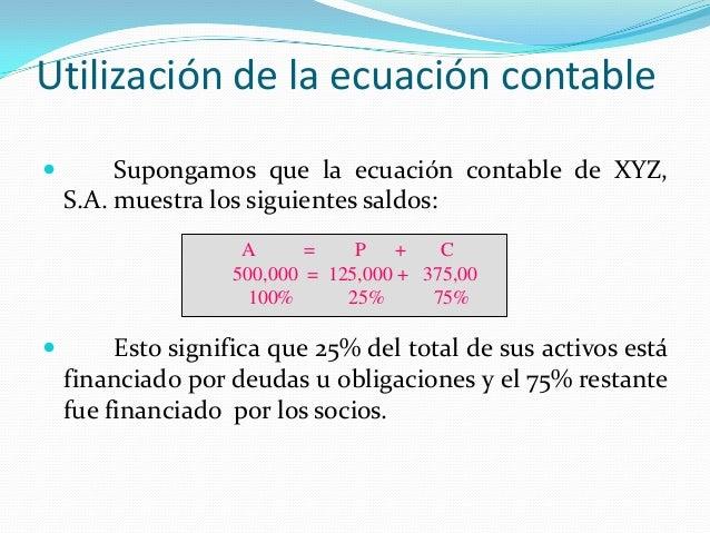 Utilización de la ecuación contable  Supongamos que la ecuación contable de XYZ, S.A. muestra los siguientes saldos:  Es...