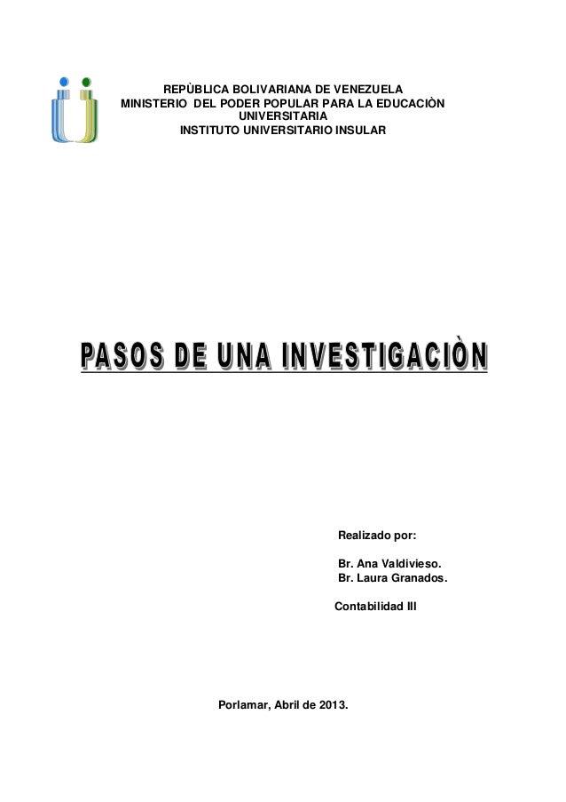 REPÙBLICA BOLIVARIANA DE VENEZUELAMINISTERIO DEL PODER POPULAR PARA LA EDUCACIÒNUNIVERSITARIAINSTITUTO UNIVERSITARIO INSUL...