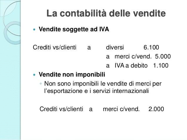 La contabilità delle vendite  Vendite soggette ad IVA Crediti vs/clienti a diversi 6.100 a merci c/vend. 5.000 a IVA a de...