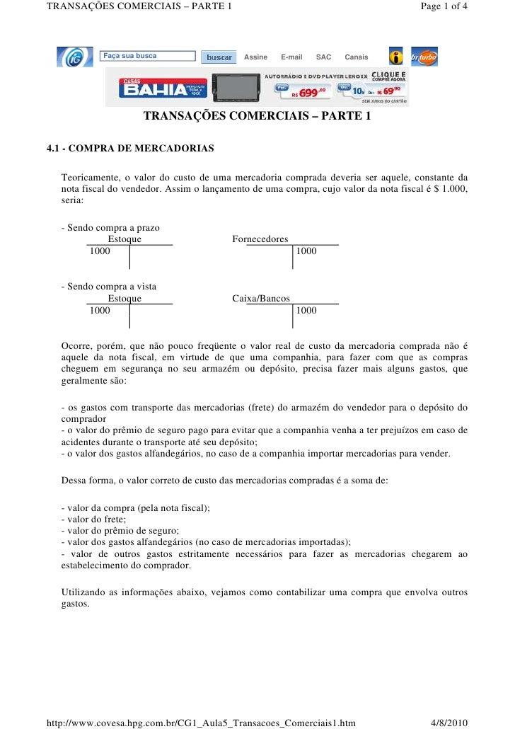 TRANSAÇÕES COMERCIAIS – PARTE 1                                                       Page 1 of 4                Faça sua ...