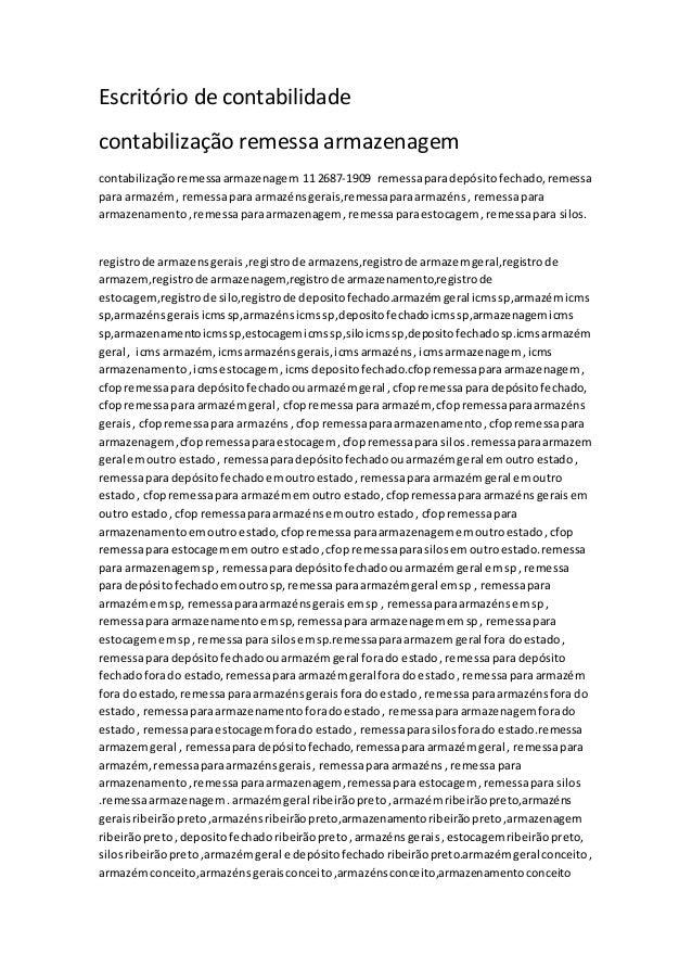 Escritório de contabilidade contabilização remessa armazenagem contabilizaçãoremessaarmazenagem 11 2687-1909 remessaparade...