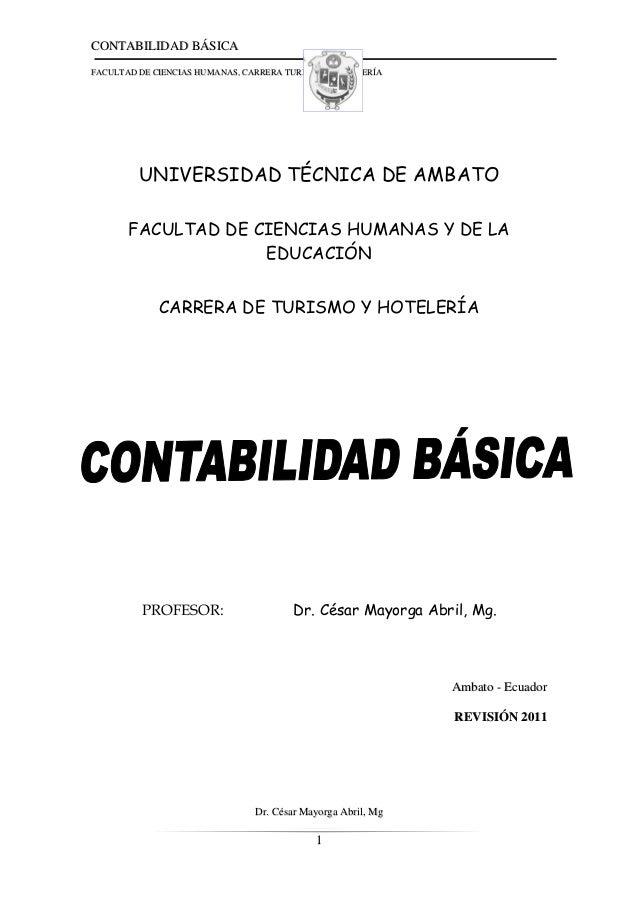 CCOONNTTAABBIILLIIDDAADD BBÁÁSSIICCAA FFAACCUULLTTAADD DDEE CCIIEENNCCIIAASS HHUUMMAANNAASS,, CCAARRRREERRAA TTUURRIISSMMO...