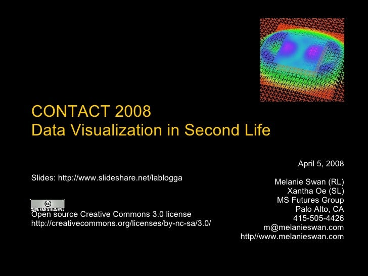 CONTACT 2008 Data Visualization in Second Life April 5, 2008 Melanie Swan (RL) Xantha Oe (SL) MS Futures Group Palo Alto, ...
