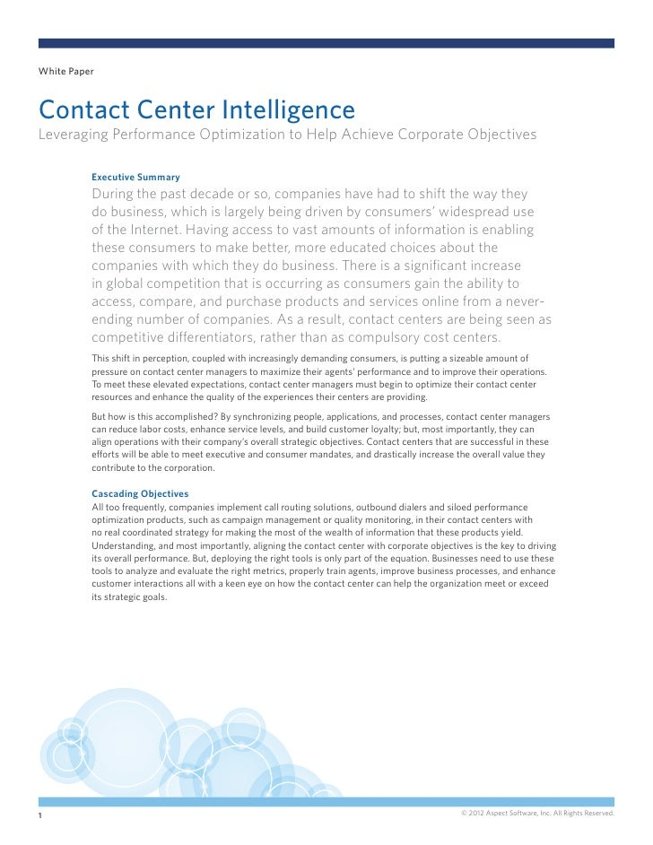 White PaperContact Center IntelligenceLeveraging Performance Optimization to Help Achieve Corporate Objectives          Ex...