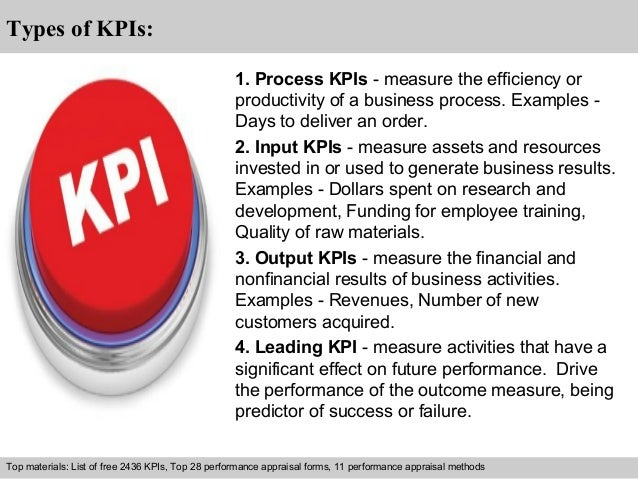 Interview questions and answers – free download/ pdf and ppt file  Types of KPIs:  1. Process KPIs - measure the efficienc...