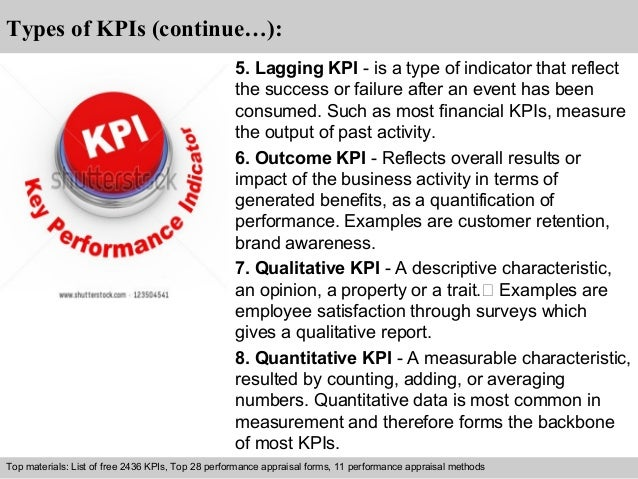 Types of KPIs (continue…):  5. Lagging KPI - is a type of indicator that reflect  the success or failure after an event ha...