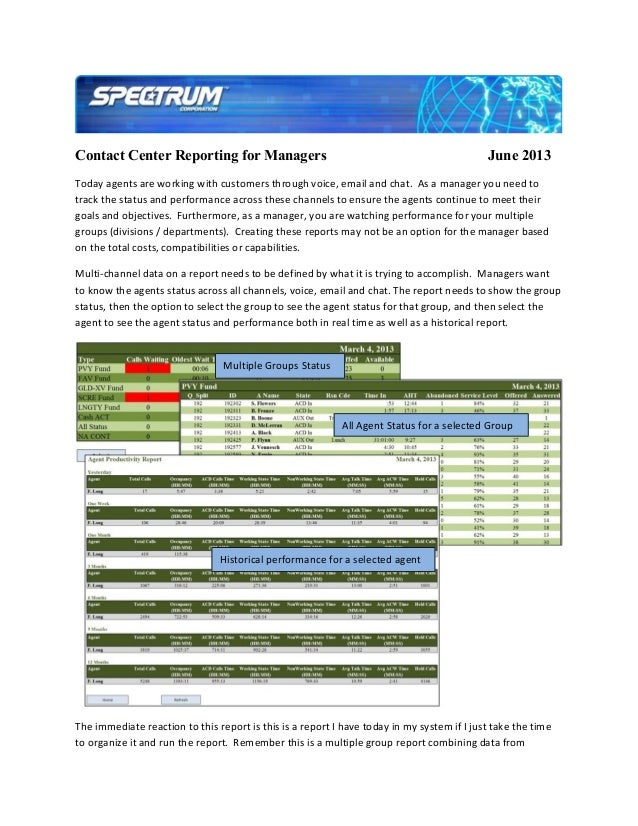 Contact Center Reporting for Managers June 2013Today agents are working with customers through voice, email and chat. As a...