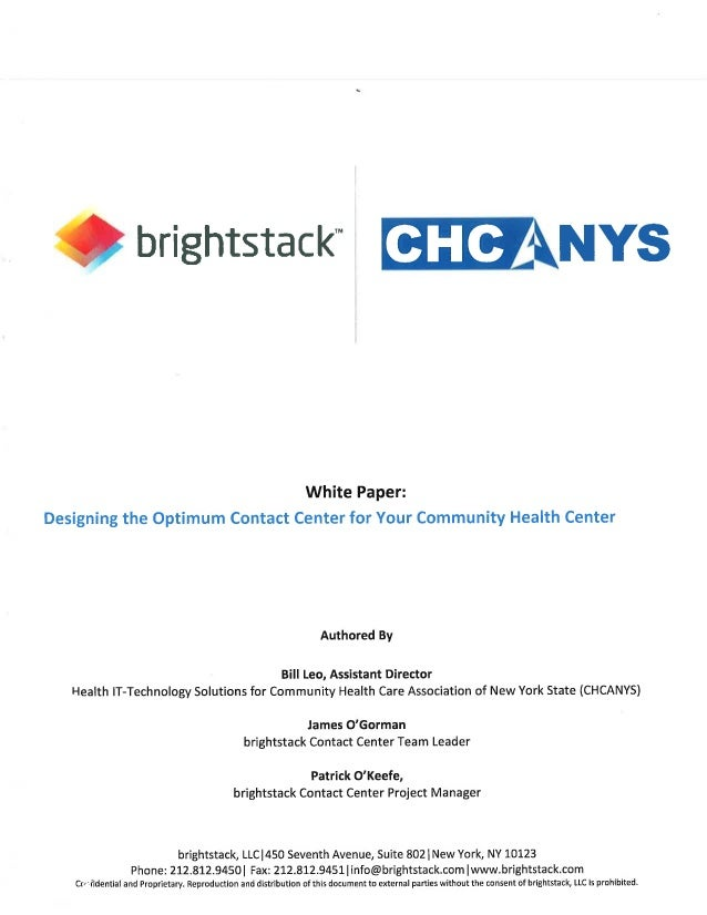 "Q brightstack"" QIEANYS  White Paper:  Designing the Optimum Contact Center for Your Community Health Center  Authored By  ..."