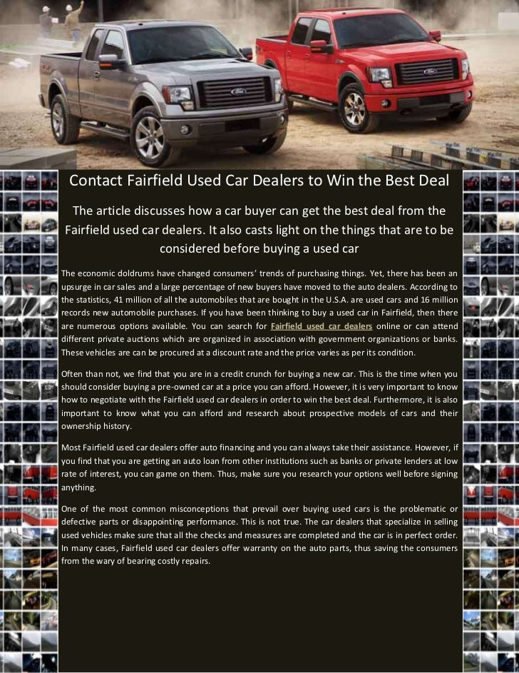 Used Cars Dealers >> Contact Fairfield Used Car Dealers To Win The Best Deal