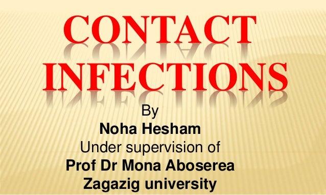 CONTACT INFECTIONS By Noha Hesham Under supervision of Prof Dr Mona Aboserea Zagazig university