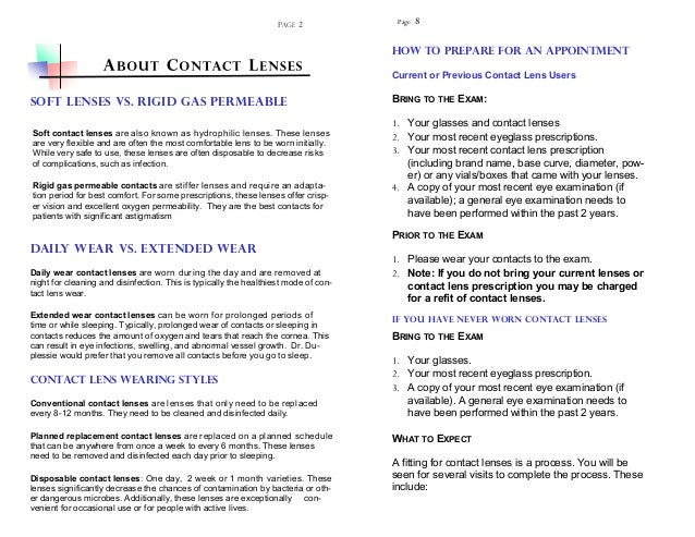 4d19d68ee0 Contact lens brochure by Dr. Michael Duplessie