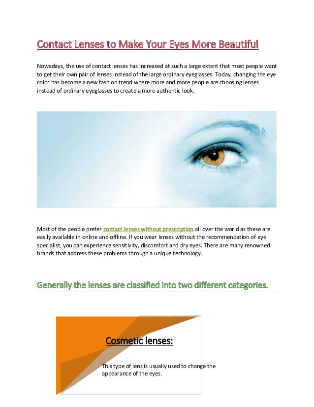 Contact lenses to make your eyes more beautiful
