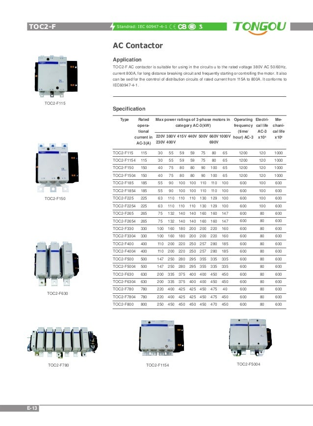 Contactor thermal relay catalogue