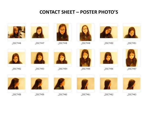 CONTACT SHEET – POSTER PHOTO'S