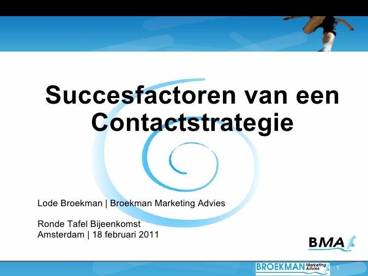 Ronde Tafel 18.Ronde Tafel Contactstrategie