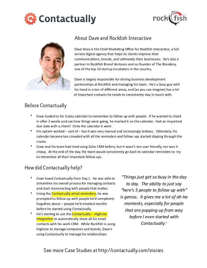 About Dave and Rockfish Interactive                                              Dave Knox is the Chief Marke3ng...