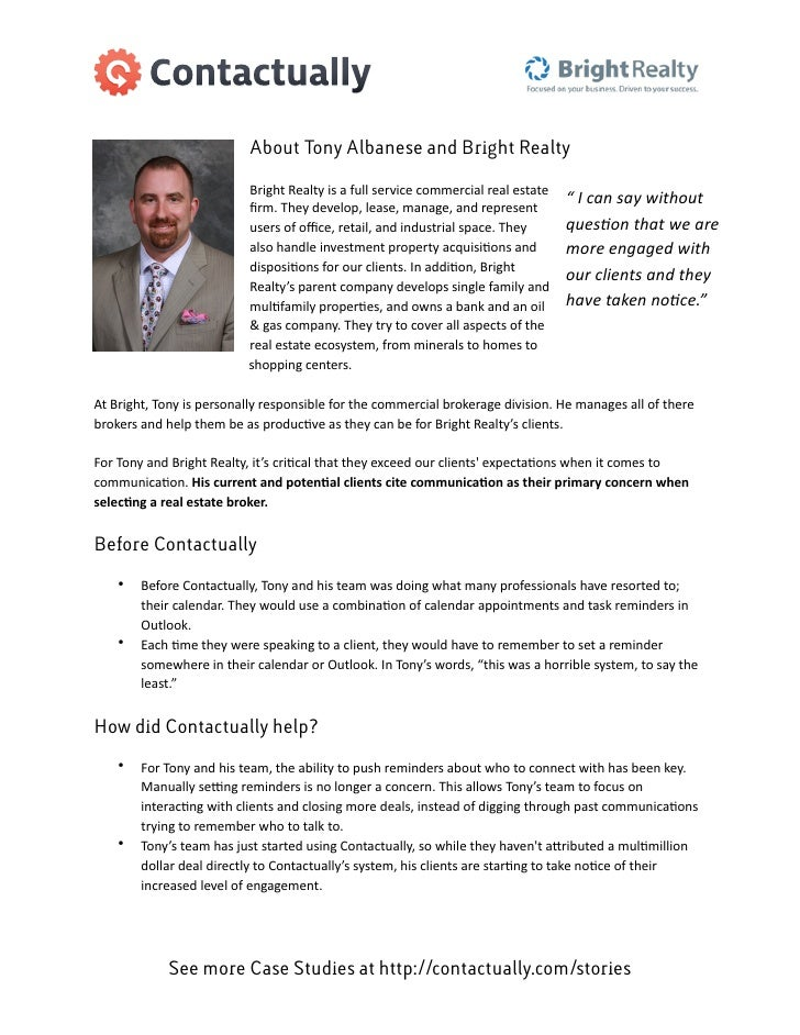 About Tony Albanese and Bright Realty                                       Bright	  Realty	  is	  a	  full	  service	  co...