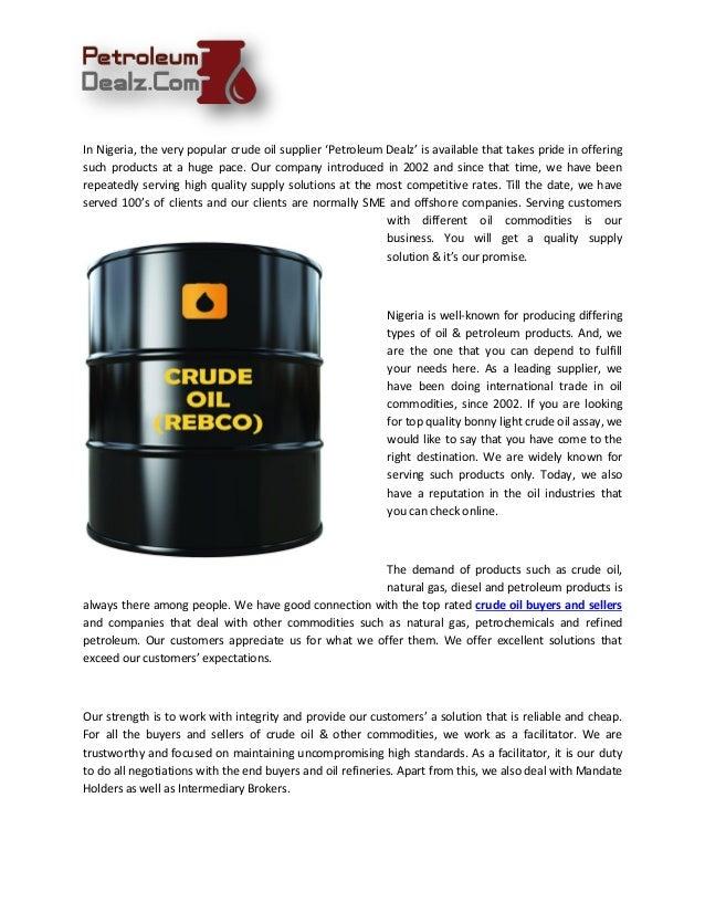 Get Bonny Light Crude Oil Assay Online