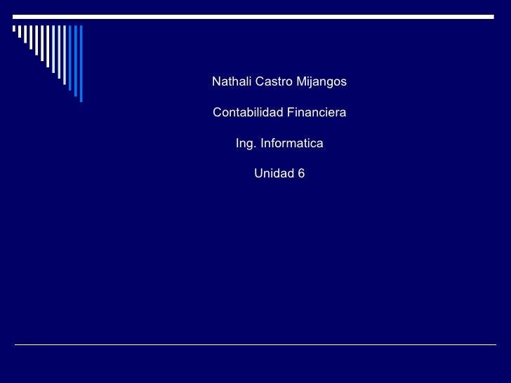Nathali Castro MijangosContabilidad Financiera    Ing. Informatica       Unidad 6