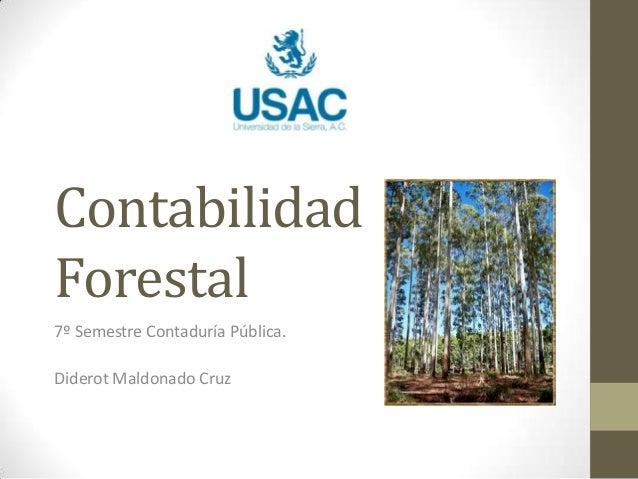Contabilidad Forestal 7º Semestre Contaduría Pública. Diderot Maldonado Cruz