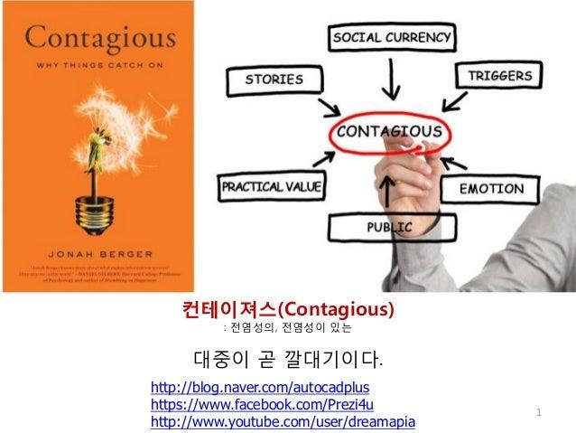 컨테이져스(Contagious) : 전염성의, 전염성이 있는  대중이 곧 깔대기이다. http://blog.naver.com/autocadplus https://www.facebook.com/Prezi4u http://...