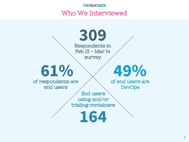 3 Who We Interviewed Respondents in Feb 21 - Mar 14 survey 309 61%of respondents are end users 49%of end users are DevOps ...