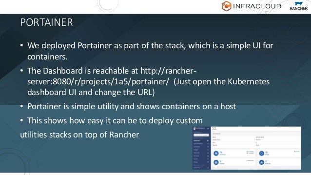 POWERFUL COMPOSITION • Every stack is a rancher-compose + docker-compose • You can custom create complete stack, upload an...