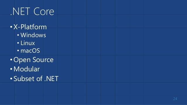 .NET Core •X-Platform • Windows • Linux • macOS •Open Source •Modular •Subset of .NET 24